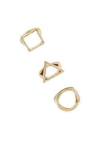 Forever21 Pave Geo Cutout Ring Set