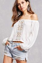 Forever21 Lush Crochet Panel Crop Top