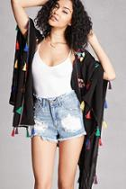 Forever21 Embroidered Tassel Shawl