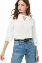 Forever21 Chiffon Cutout Peasant Top