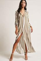 Forever21 Longline Striped Cardigan