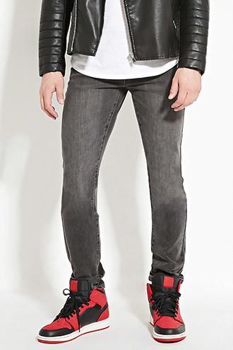 21 Men Men's  Grey Slim Fit Jeans