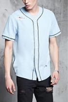 Forever21 Distressed Denim Baseball Shirt
