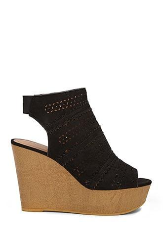 Forever21 Faux Suede Cutout Wedges