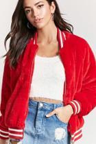 Forever21 Faux Fur Taken Varsity Jacket