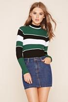 Forever21 Women's  Black & White Striped Sweater Top