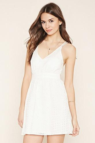 Love21 Women's  Contemporary Eyelet Dress