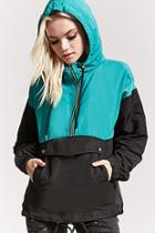 Forever21 Hooded Zip-front Colorblock Anorak
