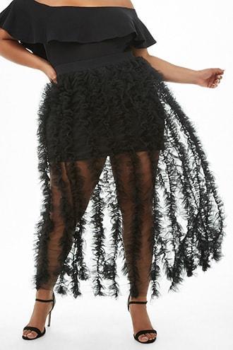 Forever21 Plus Size Mesh Ruffled Skirt