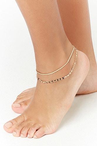 Forever21 Disc-chain Anklet Set