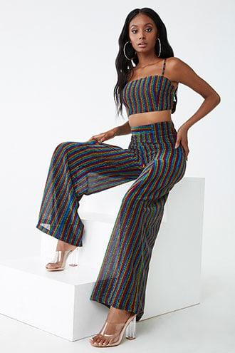 Forever21 Metallic Striped Pleat-front Pants