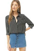 Forever21 Striped Chiffon Tie-hem Shirt