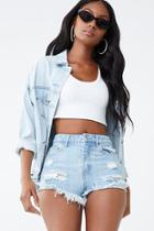 Forever21 Distressed Denim Rhinestone-trim Shorts