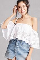 Forever21 Eyelet Crochet Crop Top