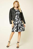 Love21 Women's  Black & Ivory Contemporary Floral Dress