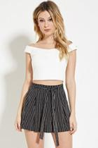 Forever21 Pleated Pinstriped Shorts