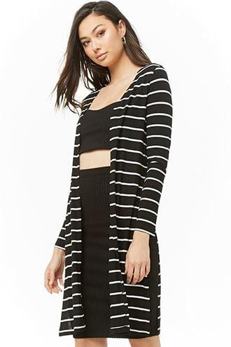 Forever21 Ribbed Striped Open-front Cardigan