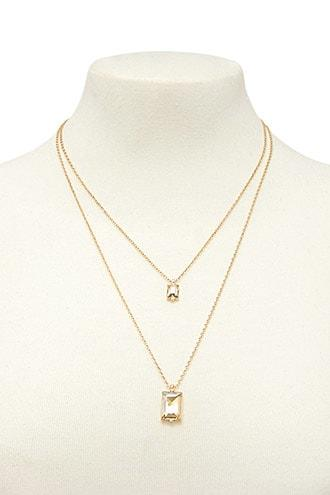 Forever21 Emerald Cut Layered Necklace