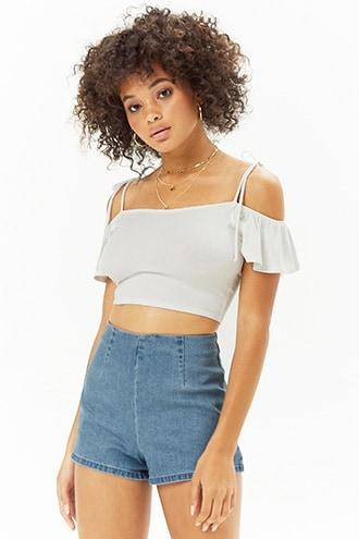 Forever21 Ribbed Flounce Sleeve Crop Top