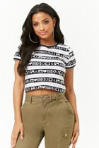 Forever21 Striped Graphic Crop Top