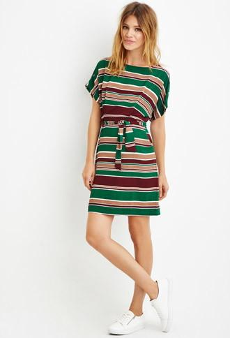 Love21 Women's  Contemporary Belted Stripe Sheath Dress