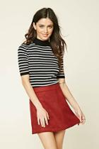 Forever21 Striped Mock Neck Sweater Top