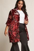 Forever21 Woven Heart Plus Size Floral Velvet Cardigan