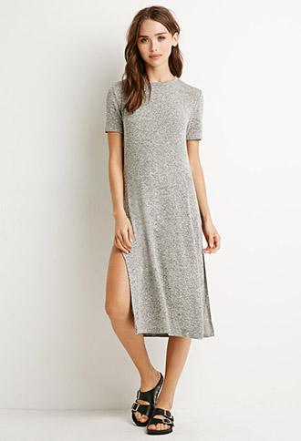 Forever 21 Marled Side-slit Top Heather Grey Small