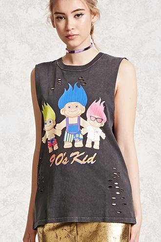 Forever21 Trolls Graphic Muscle Tee