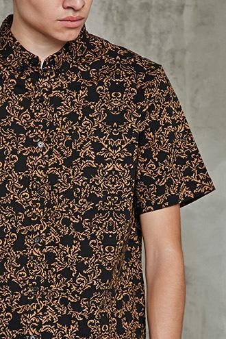 Forever21 Slim-fit Ornate Print Shirt