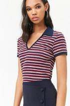 Forever21 Striped Ribbed Polo