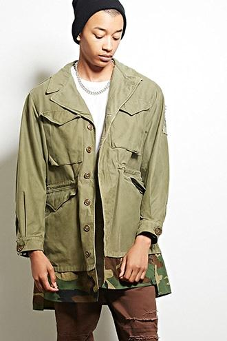 21 Men Men's  Cross Colours Camo-hem Jacket
