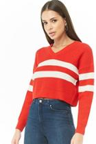 Forever21 Varsity Striped Cropped Sweater