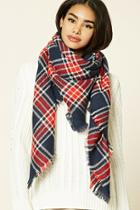 Forever21 Plaid Frayed Scarf