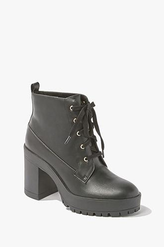 Forever21 Faux Leather Lace-up Ankle Booties