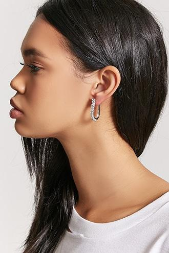 Forever21 Curved Pave Drop Earrings