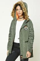 Forever21 Women's  Olive Tiger Patch Hooded Jacket