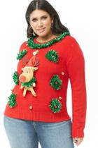 Forever21 Plus Size Reindeer Christmas Sweater