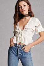 Forever21 Crochet Tie-front Crop Top
