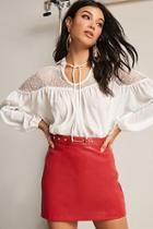 Forever21 Lace-yoke Peasant Top