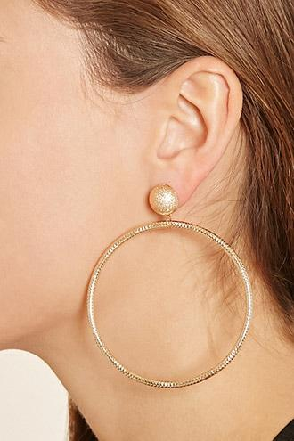 Forever21 Etched Hoop Drop Earrings