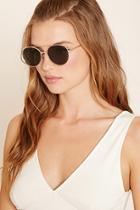 Forever21 Gold & Olive Metal Aviator Sunglasses