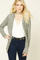 Forever21 Women's  Hooded Marled Knit Cardigan