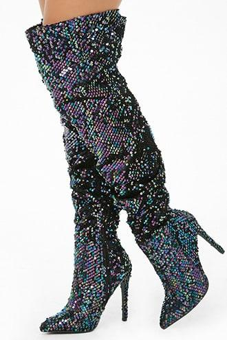 Forever21 Privileged Sequin Over-the-knee Boots