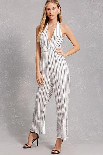 Forever21 Selfie Leslie Striped Jumpsuit