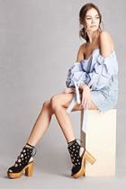 Forever21 Yoki Caged Faux Suede Platforms