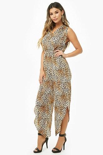 Forever21 Crepe Leopard Print Slit-leg Jumpsuit
