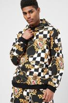 Forever21 Checkered Baroque Print Hoodie