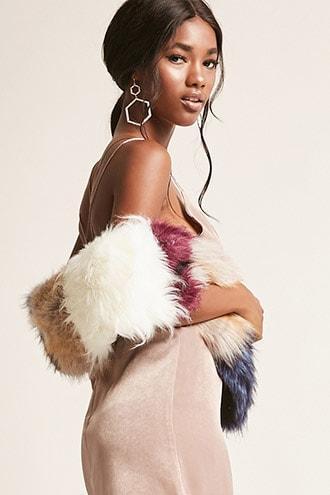 Forever21 Pia Rossini Faux Fur Colorblock Scarf