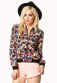 Forever21 Floral Bomber Jacket